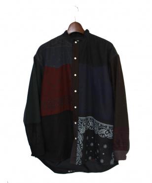 バンドカラーパッチシャツ